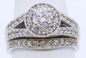 Fascinating Diamonds 14K Solid White Gold Round Diamond Halo Bridal Ring Set s 7