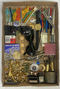 Vintage Junk Drawer Lot Collection Small Watches Jewelry Swizzle Pipe Pens Gold