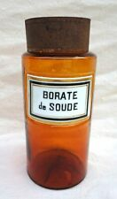 French Apothecary Jar Yellow Glass Painted Porcelain Label Sodium Borate 19th