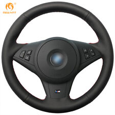 Black Artificial Leather Steering Wheel Cover Wrap for BMW E60 530i E63 E64 635D