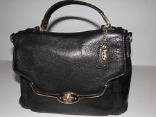 Coach Black Madison Pebble Leather Small Sadie Flap Satchel Bag Purse 26624