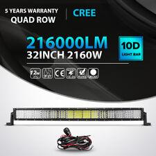"10D Quad-Row 2160W 32Inch LED Work Light Bar Flood Spot Offroad Truck ATV 30""36"""