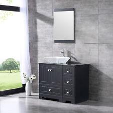 36inch Black Bathroom Vanity Cabinet Top Single Vessel Sink Set&Faucet Combo