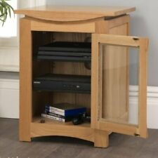 Crescent solid oak furniture hi-fi storage cabinet modern living room RRP £199