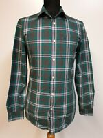 MENS JACK WILLS GREY GREEN BLUE CHECK FITTED L/SLEEVE SHIRT XS 34""