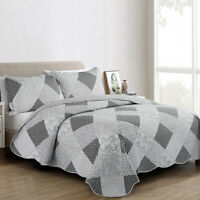 Grey 3 Piece Quilted Bedspread Bed Throws Single Double King Size Bedding Set
