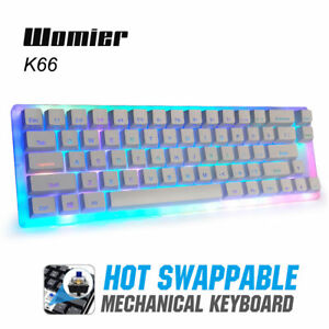 Womier K66 PBT RGB Backlit Gateron Switch Hot Swappable Mechanical Keyboard NEW