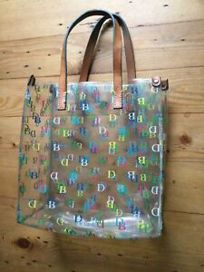 Dooney Bourke Clear Plastic Logo Leather Handles Tote