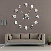 Frameless Wall Clock Watch Needle Quartz Skull Patterned Home Decoration DIY New