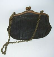 Antique Leather Coin Purse with Chain