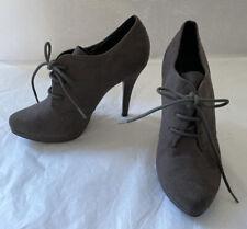 Graceland Purple Grey Lace Up Heel Boots Size UK 4