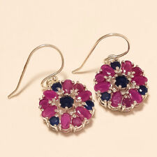 Natural Sapphire Red Ruby Earrings 925 Sterling Silver Dangle Drop Fine Jewelry