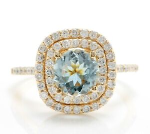 3.35 Carat Natural Blue Aquamarine and Diamonds in 14K Solid Yellow Gold Ring