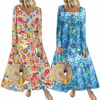Plus Size Women Print Long Sleeve Boho Casual Beach Maxi Dress Oversized Kaftan