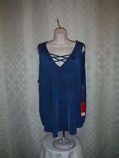 Size Plus Sleeveless Blouses 2X,1X,JLO Teal Blue & Darker Stripe NWT