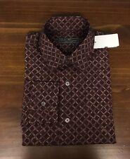 $595 SALVATORE FERRAGAMO Men's -Gancini Logo- Burgundy Button Down Shirt M