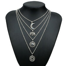 GN- Moon Elephant Pendant Vintage Multilayer Chain Women Necklace Jewelry Cheap