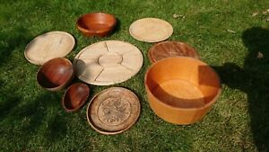 job lot of vintage wooden bowls and platters LARP camp fire cooking