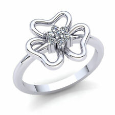 Fancy Right Hand Ring 10K Gold Real 1.5carat Round Cut Diamond Womens Flower