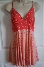 EUC BISOU BISOU Womens Pink Polka Dot Spaghetti Strap Polyester Nightgown SMALL