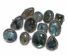 Labradorite Gemstone 5pcs Ring Wholesale Lot 925 Sterling Silver Overlay WHR-3