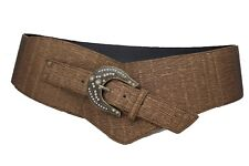 Women Wide Western Belt Hip Waist Metallic Bronze Brown Big Buckle Plus Size XL