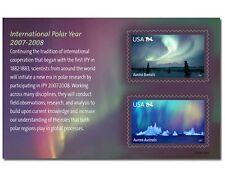 Intl. Polar Year 2007 USA mint souvenir sheet #4123 Aurora Borealis Australis