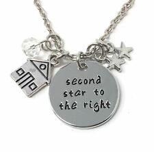 925 Silver Plt 'second Star to The Right' Engraved Necklace Peter Pan 2nd D