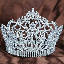 "Pageant 7"" Tiara Silver Crown Clear Rhinestones Wedding Bridal Party Costumes"