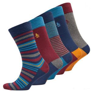 Original Penguin Mens 5 Pack Stripe Socks Cotton Navy/Multi Size 7 - 11 new
