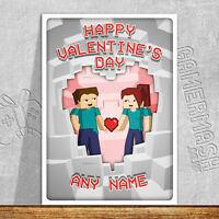 PERSONALISED VALENTINE'S DAY CARD - minecraft themed love romantic same sex gay