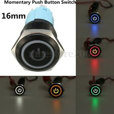 BLACK 5 Pin 16mm Led Metal Push Button Momentary POWER Switch Waterproof 12v