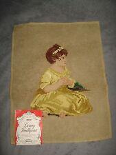 John Dritz Pre Worked Luxury Needlepoint Vintage Girl Yarn Canvas Tapestry NOS