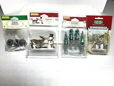 Lot Of 4 LEMAX Village Collection Porcelain Figurines_Snowman Reindeer Raccoon
