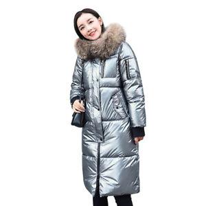Winter Long Ladies Cotton Coat Parka Down Jacket Fur Collar Hooded Women Outwear