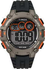 Timex Men's TW5M27200 DGTL Big DIGIT 48mm Black/gray/orange Silicone Strap Watch