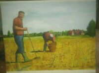 """A totally original signed unframed watercolour painting by me of 2 """"gleaners"""""""