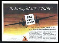 1944 Northrop Black Widow P61 Night Fighter plane art vintage print ad