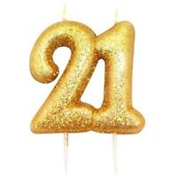 21st Birthday Cake Candle Gold Anniversary Glitter Age Number Party Topper Gift