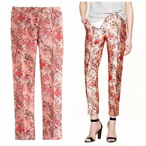 $298 J.CREW COLLECTION Size 6 Cropped Pintuck Pant in Butterfly Lemonade Silk