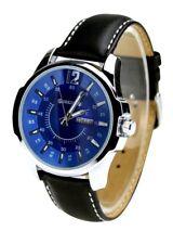 Orkina Silver Color Case Date Blue Dial Leather Strap Men Quartz Wrist Watch