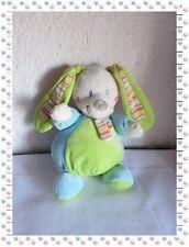 I - Doudou Peluche Lapin Boule Musical Vert Bleu Blanc Mots d'Enfants