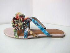 Tamaris Riemchen Sandale Sandalette 37 türkis grün beige snake Sandals stripes