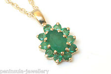 "9ct Gold Oval Emerald Cluster Pendant and 18"" Chain Gift Boxed Made in UK"