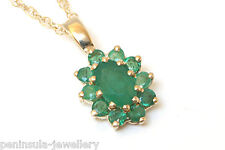 9ct Gold Oval Emerald Pendant and Chain Made in UK Gift Boxed