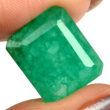 12,15 ct  Medium Green Emerald - Emerald cut - Opaque - Zambia - Amazing