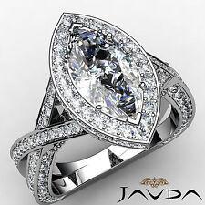 Marquise Diamond Engagement Splendid Halo Ring EGL G VS1 14k White Gold 2.55 ct