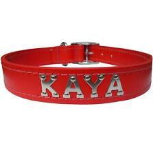 Medium/Large Personalised Red Leather Designer Dog Collar