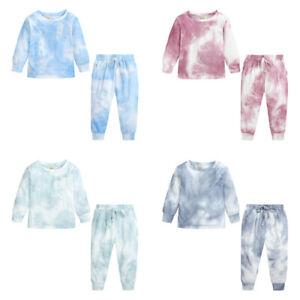 Toddler Kids Girl Tie-Dye Print Sweat Shirt Tops+Pants 2PCS Outfits Clothes Set