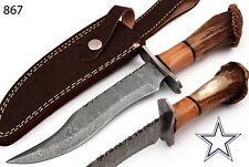"11""HAND FORGED DAMASCUS STEEL HUNTING KNIFE & WOOD W/STAG CROW HANDLE AH-867"